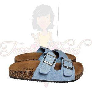 Anna Glory Light Blue Denim Open Toe Slide Sandals